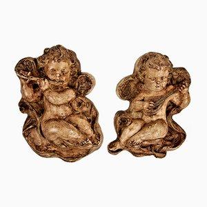 Vintage Ceramic Singing Angels, Set of 2
