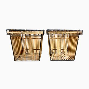 Dutch Rattan and Steel Storage Baskets by Dirk Van Sliedregt Attr. For Rohé, 1960s, Set of 2