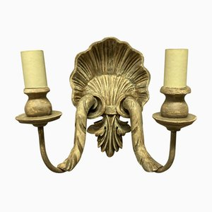 Carved & Painted Shell Sconces, Set of 4