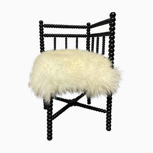 Small Black Lacquered Bobbin Corner Chair