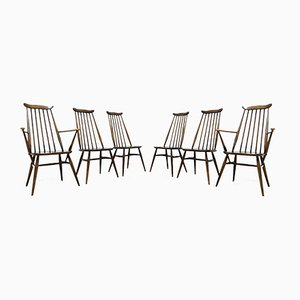 Vintage Elm Dining Chairs by Ercol Goldsmith, 1960s, Set of 6