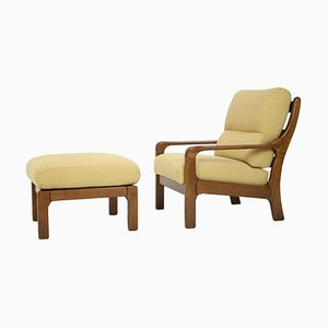Mid-Century Armchair with Footstool, 1960s, Set of 2