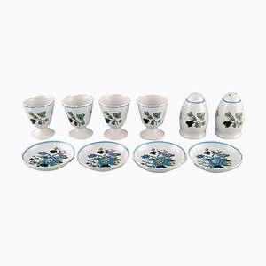 Porcelain Mulberry Egg Cups, Caviar Bowls and Salt / Pepper Shaker, 1960s, Set of 10