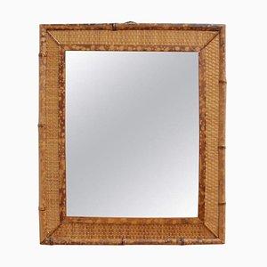 Specchio da parete rettangolare Mid-Century in vimini, Italia, anni '60