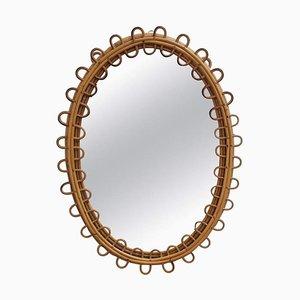 Specchio da parete ovale Mid-Century in vimini, Italia, anni '60