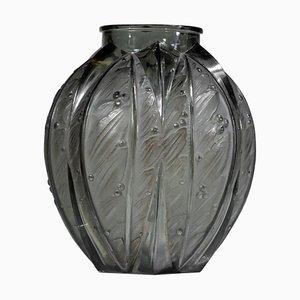 Große graue Glasvase von Verlys, 1940er