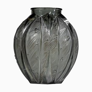 Large Grey Glass Vase from Verlys, 1940s