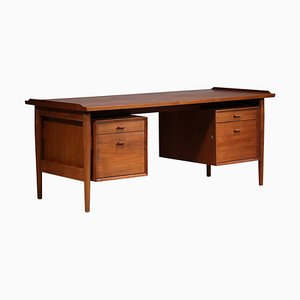 Large Teak Scandinavian Desk by Arne Vodder