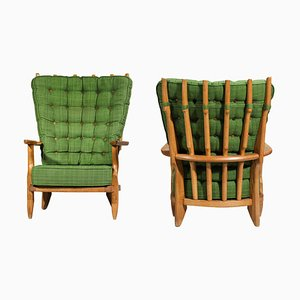 Solid Oak Grand Repos Armchairs by Guillerme and Chambron, Set of 2