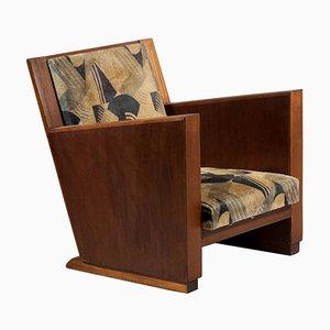 Französischer Modernistischer Sessel aus Art Deco Stoff mit Geometrischen Mustern, 1930er