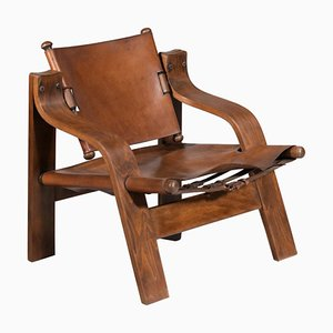 Leather and Curved Plywood Armchair, 1950s