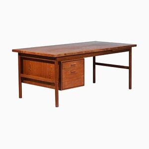 Large Danish Teak Desk with Pedestal