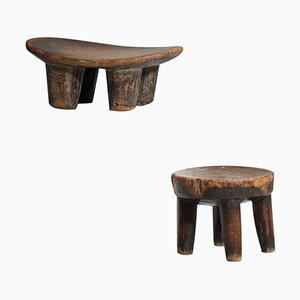 Small African Stool in Solid Wood, 1960s