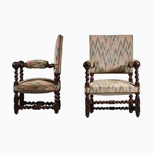 Louis XIII Style Solid Oak Armchairs, 1960s, Set of 2