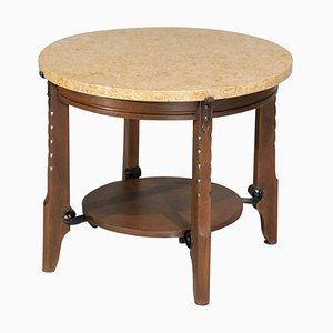 Oak and Travertine Art Deco Coffee Table, 1930s