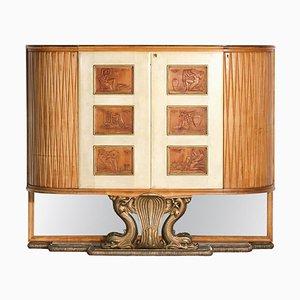 Large Italian Wood Parchment Furniture by Osvaldo Borsani, 1940s