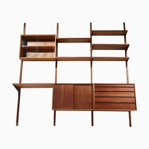 Large Danish Teak Wall Bookcase Ladder by Poul Cadovius