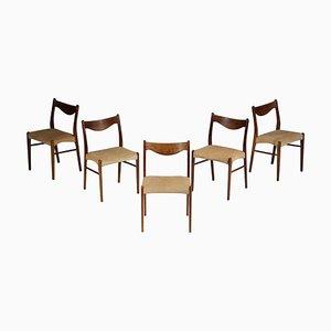 Skandinavische Dänische Palisander Stühle, 5er Set