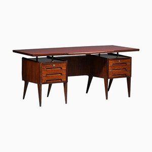 Large Italian Wood and Glass Desk by Vittorio Dassi
