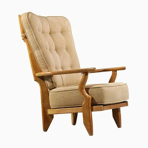 Oak Grand Repos Lounge Chair by Guillerme Et Chambron, 1960s