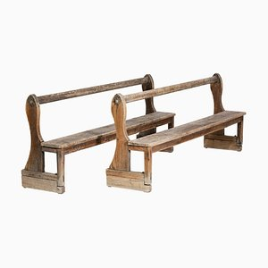 French Church Pews in Solid Oak, 1950s, Set of 2