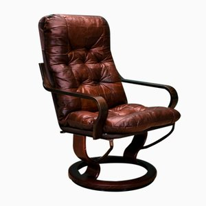 Mid-Century Norwegian Patchwork Brown Leather Swivel Lounge Chair from Ekornes