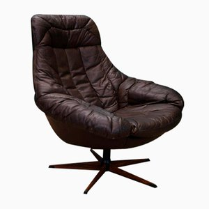 Mid-Century Danish Brown Leather Lounge Chair by H W Klein for Bramin, 1970s