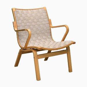 Dänischer Mid-Century Sessel aus Gewebtem Leinen von Kurt Ostervig