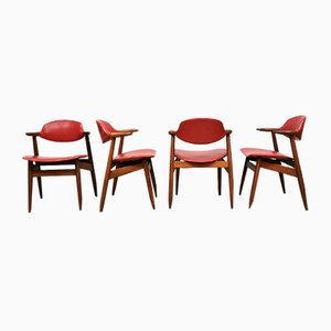 Vintage Cowhorn Dining Chairs by Tijsseling for Hulmefa, Set of 4