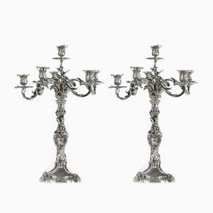 Second Empire Kerzenständer aus Silber, 2er Set