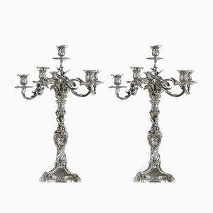 Second Empire Style Silver Candlesticks, Set of 2