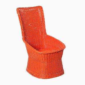 Orange Woven Wicker Chair
