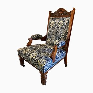 Large Antique Carved Walnut Library Chair
