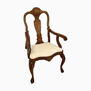 19th Century Dutch Mahogany Marquetry Armchair