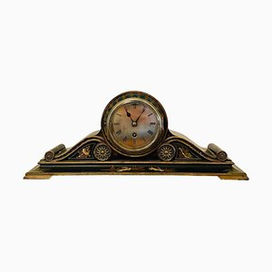 Antique Lacquered Chinoiserie Decorated Mantel Clock