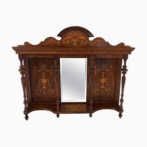 Antique Edwardian Inlaid Rosewood Overmantel Mirror