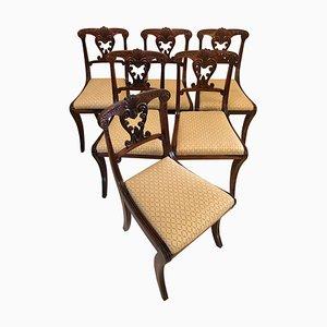 Antike Regency Esszimmerstühle aus geschnitztem Palisander, 6er Set