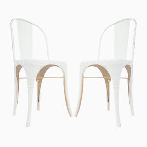 Model A White Chairs from Tolix, 1930s, Set of 2