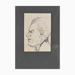 Inconnu, Portrait, Dessin au Crayon Original, Milieu du 20ème Siècle