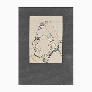 Retrato, Desconocido, Dibujo a lápiz original, Mid-Century