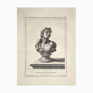 Nicola Fiorillo, Antike römische Büste, Radierung, spätes 18. Jh