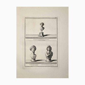 Nicola Billy, Ancient Roman Busts, Etching, Late 18th-Century