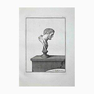 Bernardino Nolli, perfil de busto romano antiguo, aguafuerte, finales del siglo XVIII