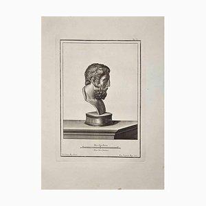 Francesco Cepparoli, Profil der antiken römischen Büste, Radierung, spätes 18. Jh