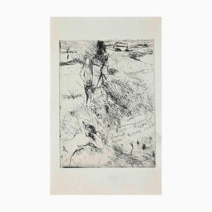Unknown, Painter in the Fields with His Model, Original Etching, 1960s