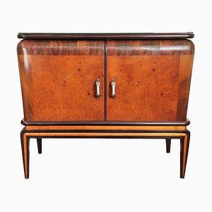 Mueble bar italiano de nogal nudoso y espejo de Paolo Buffa, años 40