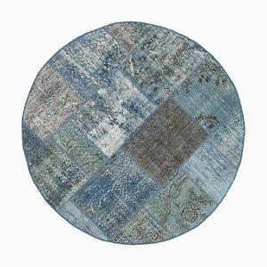 Blue Round Patchwork Rug