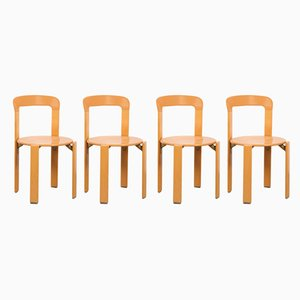 Stackable Beech Chairs by Bruno Rey, Set of 4