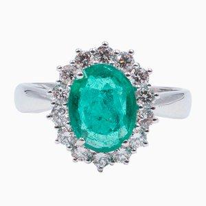 18 Karat Goldring mit Smaragd und Geschliffenen Diamanten