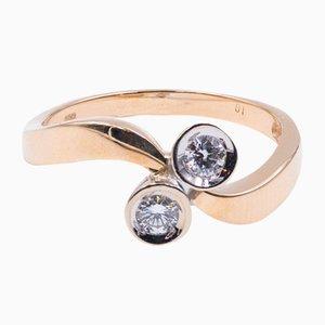 Vintage Contrarat Ring aus 14 Karat Gold mit 2 Diamanten